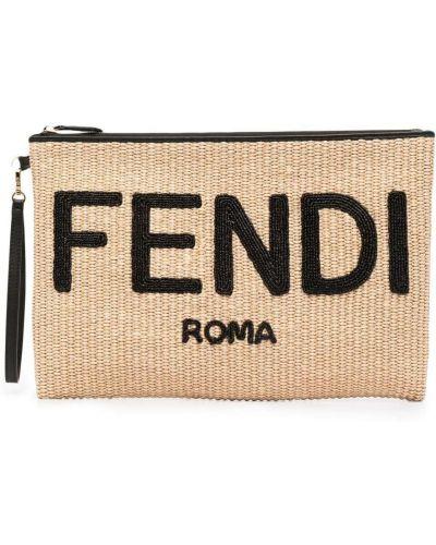 Złota beżowa kopertówka z printem Fendi