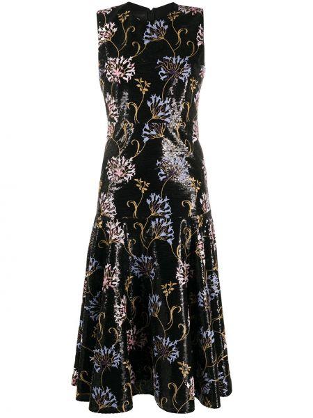 Расклешенное приталенное платье с вышивкой без рукавов Giambattista Valli
