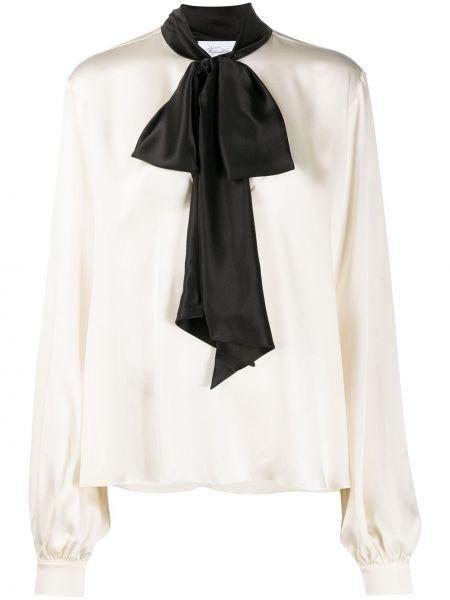 Шелковая прямая блузка с бантом с завязками Redemption