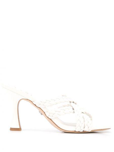 Białe sandały skórzane na obcasie Sam Edelman