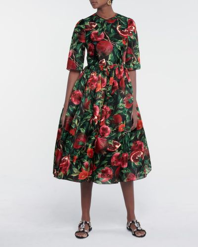 Шелковое черное платье миди с гранатом Dolce & Gabbana