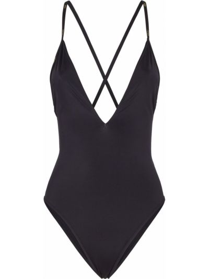 Czarny strój kąpielowy z printem Fendi