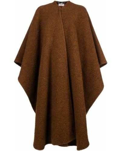 Коричневое шерстяное пальто с капюшоном Salvatore Ferragamo Pre-owned