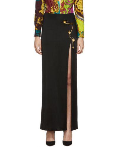 Czarny spódnica maxi prążkowany z wiskozy Versace