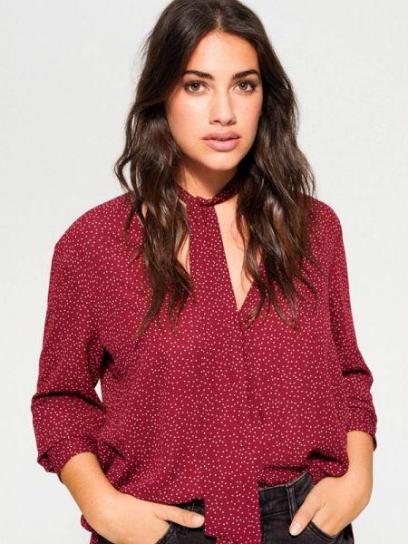 Блузка бордовый весенний Violeta By Mango
