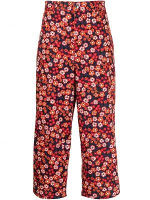 Spodnie bawełniane z paskiem w kwiaty Marni