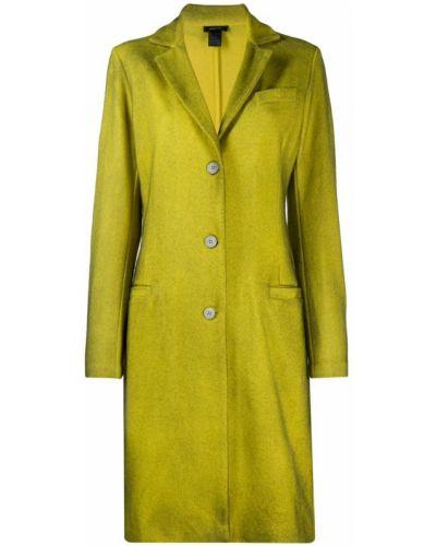 Однобортное желтое длинное пальто с капюшоном Avant Toi