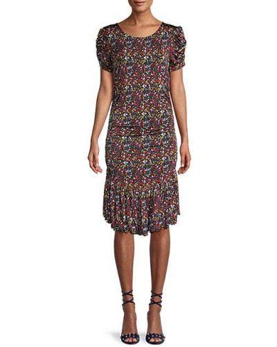 Мягкое платье с короткими рукавами из вискозы Tanya Taylor