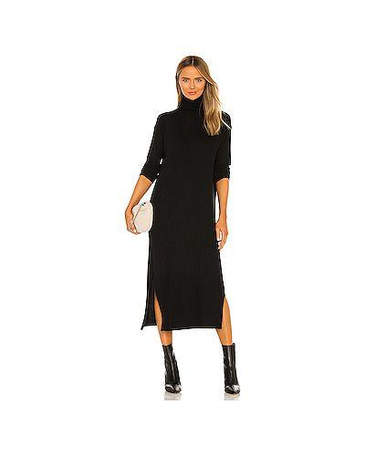 Черное платье с разрезом из вискозы Enza Costa