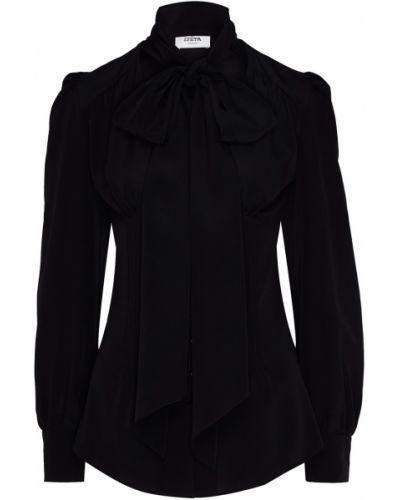 С рукавами шелковая черная блузка Izeta