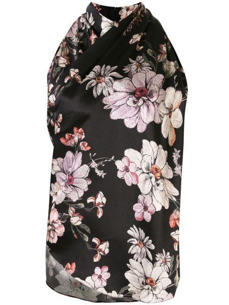 Шелковая черная блузка без рукавов с воротом халтер с вырезом Adam Lippes
