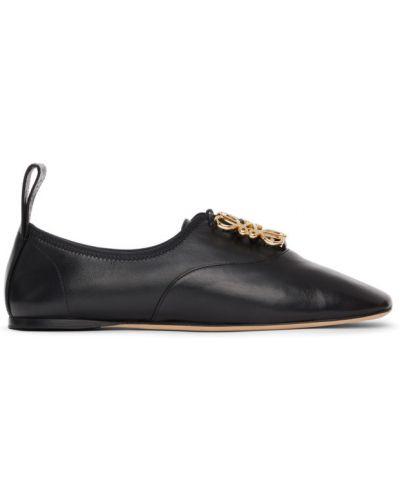 Czarne derby skorzane koronkowe Loewe