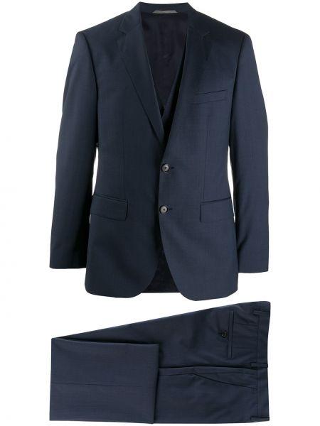 Niebieski kostium garnitur z klapami bez rękawów Boss