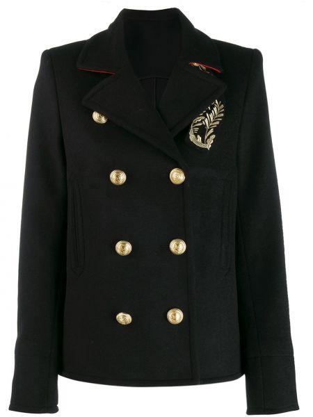 Прямой черный удлиненный пиджак на пуговицах Paco Rabanne