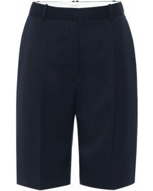 Однобортные синие шерстяные короткие шорты The Row