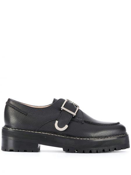 Czarny buty brogsy okrągły nos z prawdziwej skóry niskie obcasy Alexa Chung