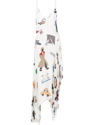 Biała sukienka asymetryczna z dekoltem w serek z printem Monse