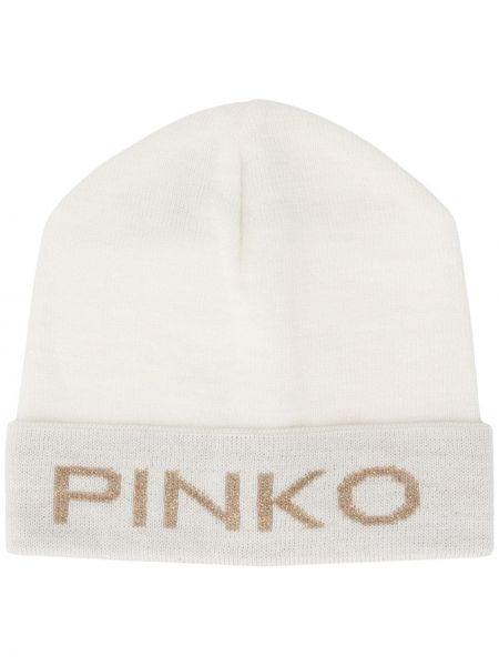 Biały czapka beanie wełniany Pinko