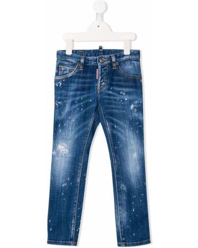 Синие кожаные джинсы классические на молнии Dsquared2 Kids