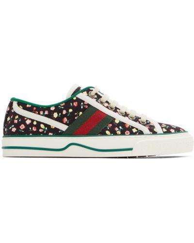 Włókienniczy czarny sneakersy na sznurowadłach z łatami Gucci