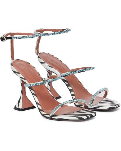 Белые кожаные сандалии Amina Muaddi