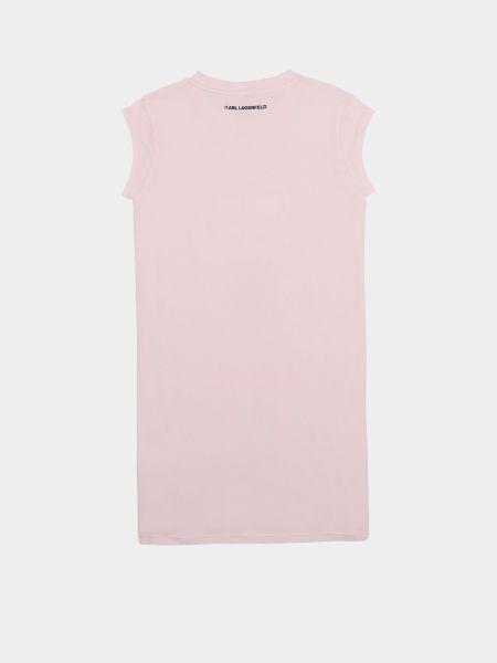 Хлопковое розовое платье с вырезом Karl Lagerfeld
