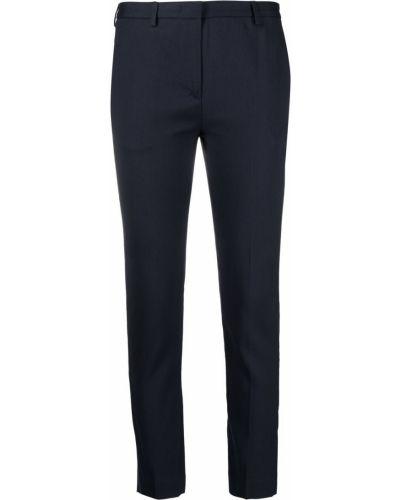 Синие укороченные брюки узкого кроя с потайной застежкой Lardini