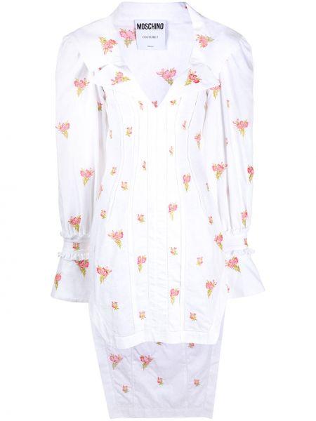 Шелковое белое платье макси с вышивкой Moschino