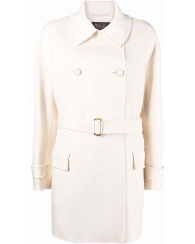 Biały klasyczny płaszcz Loro Piana