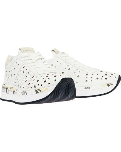 Кожаные кроссовки с перфорацией белый Premiata
