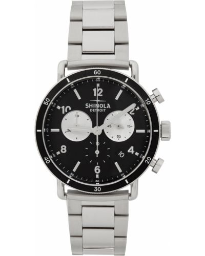 Czarny zegarek kwarcowy srebrny szafir Shinola