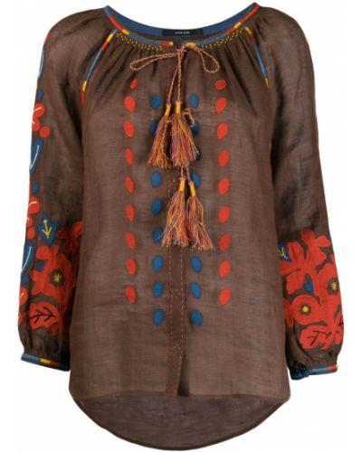 Блузка с длинным рукавом с цветочным принтом прямая Vita Kin