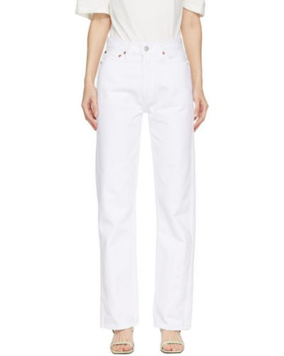 Белые свободные прямые джинсы стрейч с заплатками Re/done