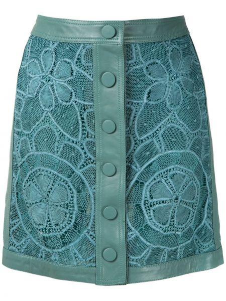Ажурная синяя с завышенной талией юбка на пуговицах Martha Medeiros