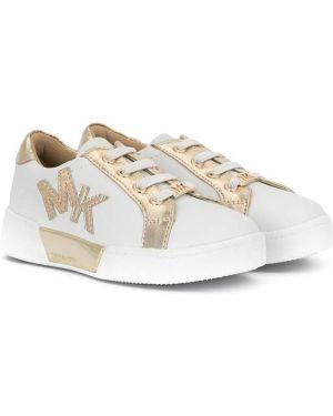 Кожаные белые кеды на шнуровке на плоской подошве Michael Kors Kids
