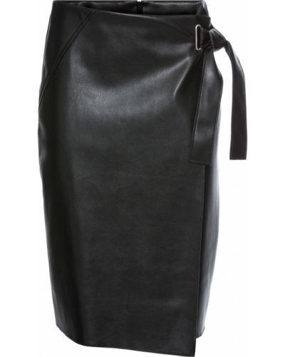 Кожаная юбка с запахом черная Bonprix
