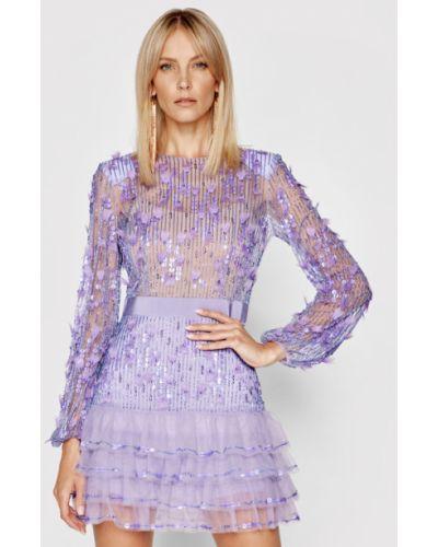 Fioletowa sukienka koktajlowa Elisabetta Franchi