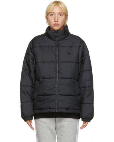 Сатиновая черная зимняя куртка с нашивками с манжетами Adidas Originals