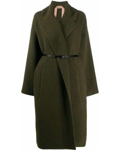 Зеленое шерстяное пальто с запахом N21