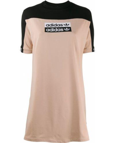 Коричневое платье мини в рубчик Adidas