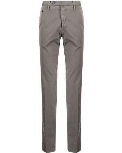 Brązowe spodnie z paskiem bawełniane Stefano Ricci