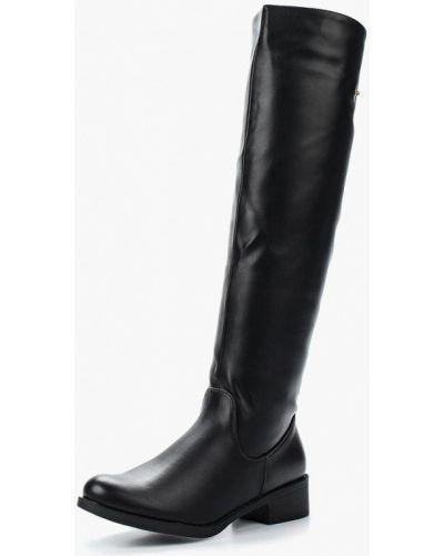 Ботфорты на каблуке кожаные черные Instreet