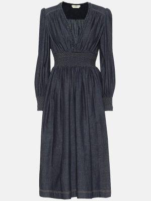 Повседневное ватное хлопковое синее платье миди Fendi