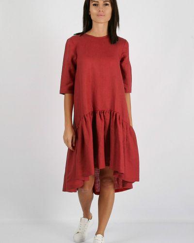 Платье миди осеннее красный Morandi