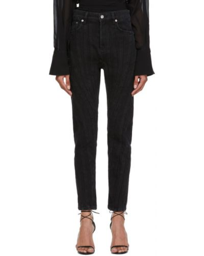 Черные джинсы стрейч с заплатками Mugler