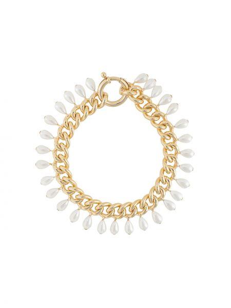 Łańcuch ze złota złoto metal z perłami na hakach Rosantica