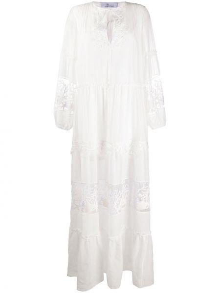 Шелковое платье макси - белое Blumarine