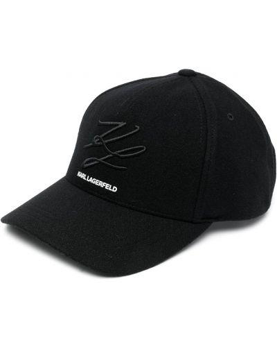Шерстяная черная кепка с вышивкой Karl Lagerfeld