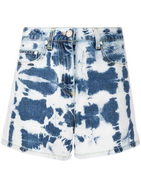 Классические джинсовые шорты со стразами с карманами на пуговицах Msgm