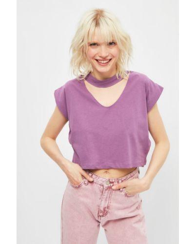 Fioletowy t-shirt bawełniany z wysokim stanem Trendyol